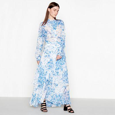 5c6f946243 Studio by Preen Pale blue floral print chiffon maxi skirt