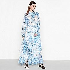 Studio by Preen - Pale blue floral print chiffon maxi skirt