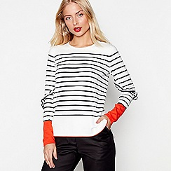 Studio by Preen - Ivory long sleeve frill Breton jumper