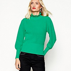 Studio by Preen - Green wool blend frill neck jumper