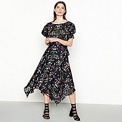 Studio by Preen - Black floral print chiffon midi asymmetrical wrap skirt