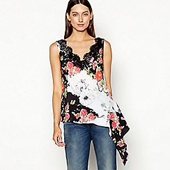Studio by Preen - Cream floral print lace chiffon V-neck sleeveless top