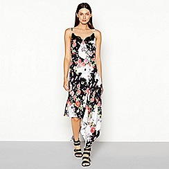 Studio by Preen - Cream floral print lace chiffon V-neck high low camisole dress