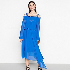 Studio by Preen - Blue chiffon cold shoulder high low dress
