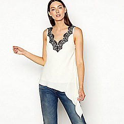 Studio by Preen - Cream lace chiffon V-neck sleeveless top