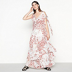 Studio by Preen - Red floral print chiffon V-neck maxi dress
