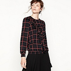 Studio by Preen - Black check print ruffle blouse
