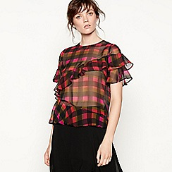 Studio by Preen - Pink check print ruffle sleeve top