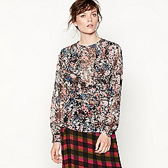 Studio by Preen - Black floral print layered blouse
