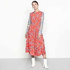 Studio by Preen - Red floral print 'Garland' midi lantern dress