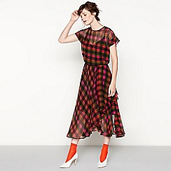 Studio by Preen - Pink check print midi dress