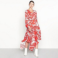 Studio by Preen - Red floral scarf print hi low wrap dress