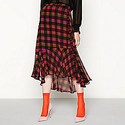 Studio by Preen - Pink check print woven hem midi skirt