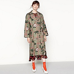 Studio by Preen - Dark green floral print check trench coat