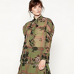 Studio by Preen - Green check floral print blouse