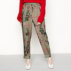 Studio by Preen - Green floral check trousers