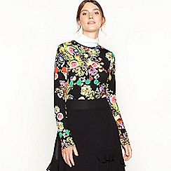 Studio by Preen - Black floral print Highland crew neck top