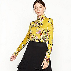 Studio by Preen - Mustard floral print Highland polo neck top