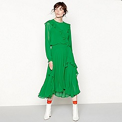 Studio by Preen - Bright green ruffle trim 'Shearing' midi dress