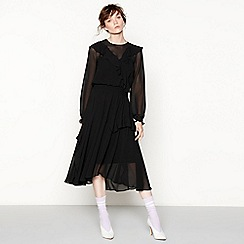 Studio by Preen - Black ruffle 'Shearing' midi dress