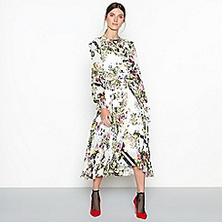 Studio by Preen - Cream 'Hero' floral print shearing midi dress