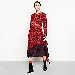 Studio by Preen - Red leopard print silk high low dress
