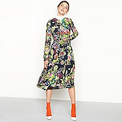 Studio by Preen - Black floral print Hiland long sleeve dress