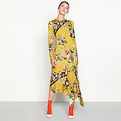 Studio by Preen - Mustard Highland floral print long sleeve midi dress