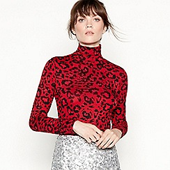 Studio by Preen - Red leopard print roll neck top