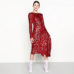 Studio by Preen - Red sequin asymmetric 'Elsa' long sleeve dress
