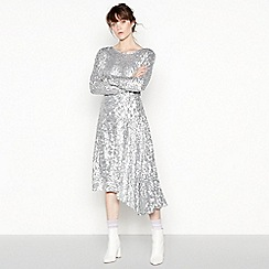 Studio by Preen - Silver sequinned 'Elsa' high low dress