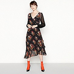 Studio by Preen - Black floral stripe chiffon midi wrap dress