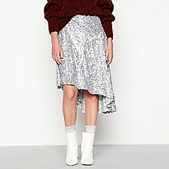 Studio by Preen - Silver 'Elsa' sequin high low skirt