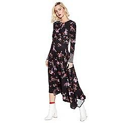 Studio by Preen - Black Floral Stripe Jersey Midi Dress