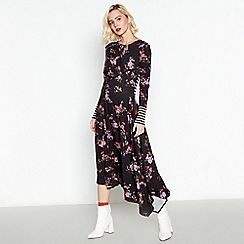 Studio by Preen - Black Floral Stripe Jersey Midi Dress