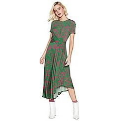 Studio by Preen - Green Floral Print Asymmetric Midi Dress