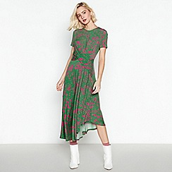 Studio by Preen - Green Floral Print Asymmetric Midi Dress