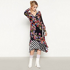 Studio by Preen - Black Floral Stripe 'Anemone' Knee Length Wrap Dress