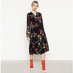 Studio by Preen - Black Floral Ruched 'Strobe' Knee Length Wrap Dress