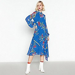 Studio by Preen - Blue Floral Print Midi Dress