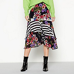 Studio by Preen - Multicoloured 'Anemone' Asymmetric Ruffle Midi Skirt