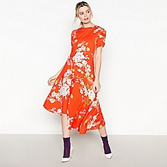 Studio by Preen - Red Floral Print Jersey High Low Dress