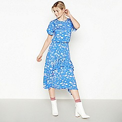 Studio by Preen - Blue Floral Print Frilled Midi Dress