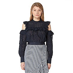 Studio by Preen - Navy textured cold shoulder blouse