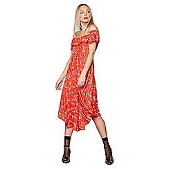 Studio by Preen - Red floral Bardot neck midi shift dress