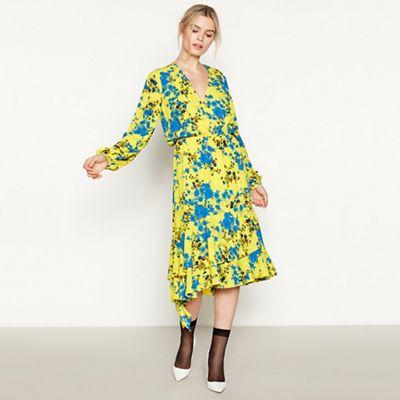 6703acc677f Studio by Preen - Yellow Floral  Shadow  Midi Wrap Dress