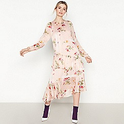 Studio by Preen - Beige Floral Pattern Chiffon Midi Dress
