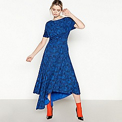 Studio by Preen - Dark Blue Check Print Jersey Maxi Dress