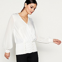 Star by Julien Macdonald - White corset detail wrap top
