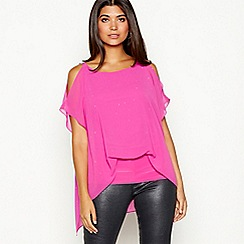 Star by Julien Macdonald - Bright pink diamante chiffon cold shoulder short sleeve top